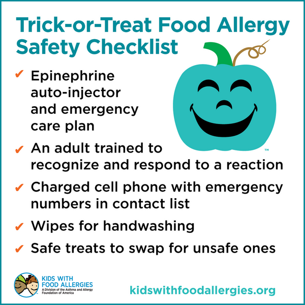 Checklist for trick-or-treating with food allergies