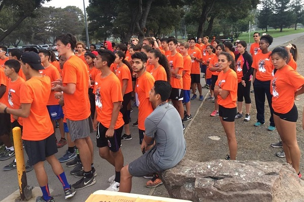 Participants of the Attack Asthma Run lined up to start the run