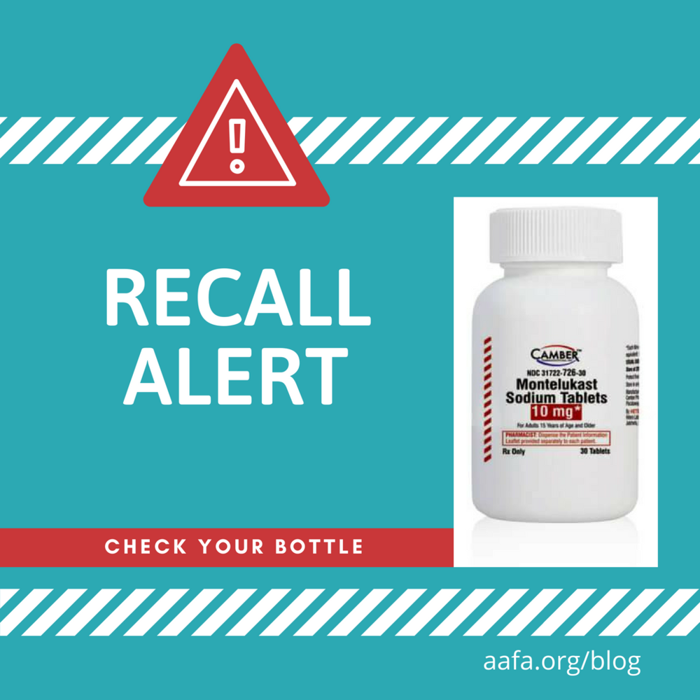 Asthma Medication Recall Alert: Montelukast Tablets From
