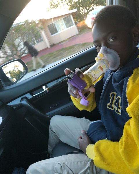 Javan makes sure to use his long-term control inhaler twice a day