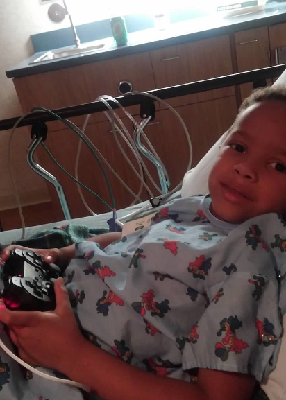Jonathan Robinson, Jr. in the hospital in November 2016 for an asthma attack