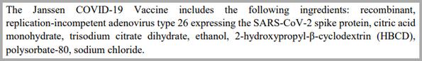 Johnson & Johnson COVID-19 vaccine ingredients
