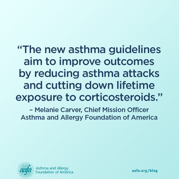 The new asthma guidelines aim to improve outcomes by reducing asthma attacks and cutting down lifetime exposure to corticosteroids.