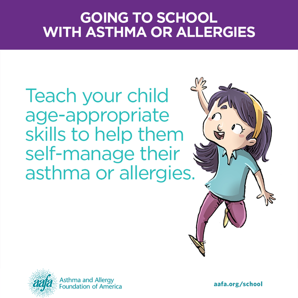 Teach your child age-appropriate skills to help them self-manage their asthma or allergies